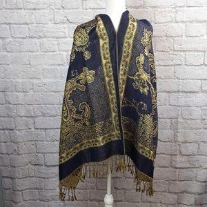 Pashmina Shawl Wrap Metallic Gold &Navy